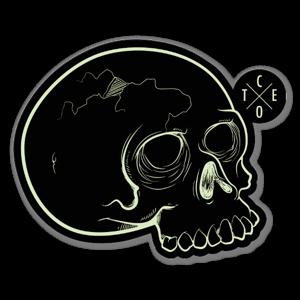 Cote Green Skull sticker