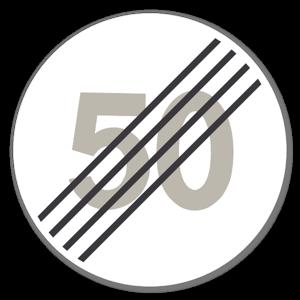 Forbudsskilt Slutt på særskilt fartgrense 50kmh dekaler sticker