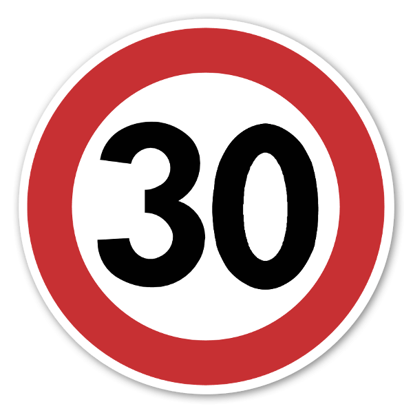 Forbudsskilt Fartsgrense 30kmh dekaler sticker
