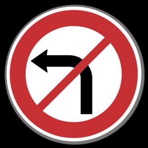 Forbudsskilt Svingeforbud til venstre sticker