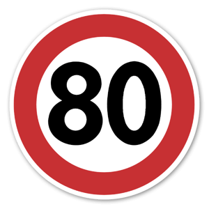 Forbudsskilt Fartsgrense 80kmh dekaler sticker