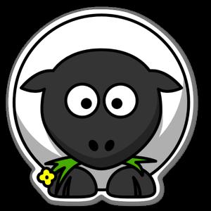 Gulligt tecknat får som äter blomma sticker