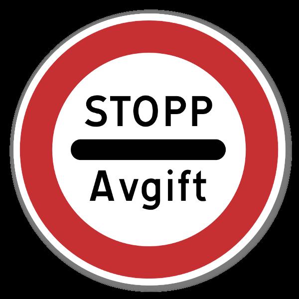 Forbudsskilt Stopp Avgift sticker