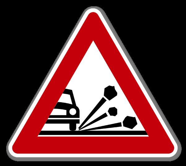 Fareskilt Steinsprut Klistremerke sticker