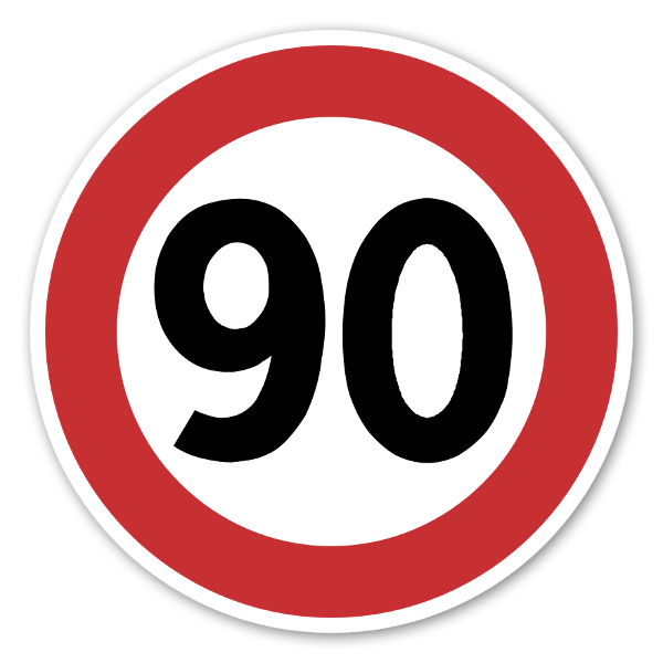 Forbudsskilt Fartsgrense 90kmh dekaler sticker