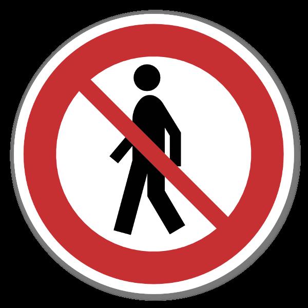 Forbudsskilt Forbudt for gående dekal sticker