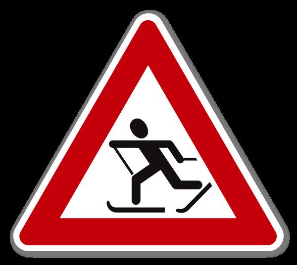 Fareskilt Skiløpere klistremerker sticker