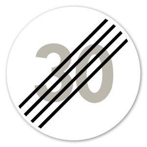 Forbudsskilt Slutt på særskilt fartgrense 30kmh dekaler sticker