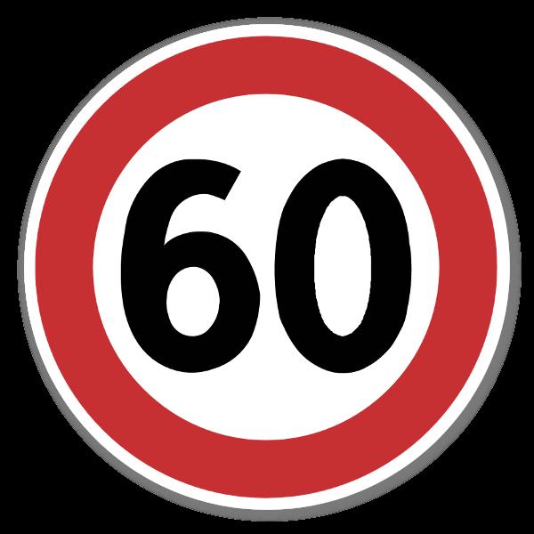 Forbudsskilt Fartsgrense 60kmh dekaler sticker