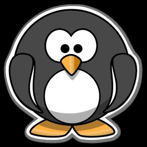 Tecknad rund pingvin sticker