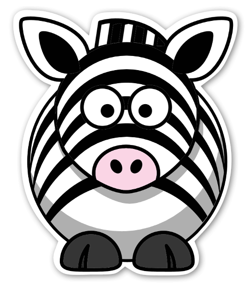 Zebra rund sticker