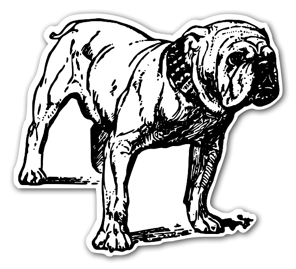 Hund klistermärke bulldog stickers etiketter