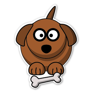 Tecknad Hund med ben sticker