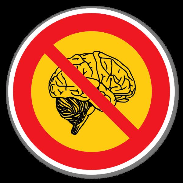 Förbjudet att tänka klistermärke sticker