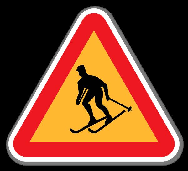 Klistermärke med varning för skidåkare sticker