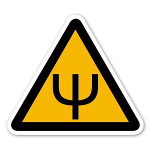 Klistermärke med psychovarning sticker
