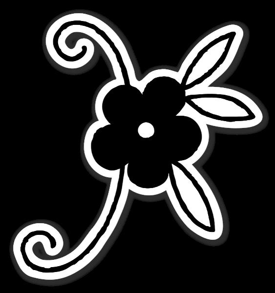 Sort og hvid blomster klistermærker