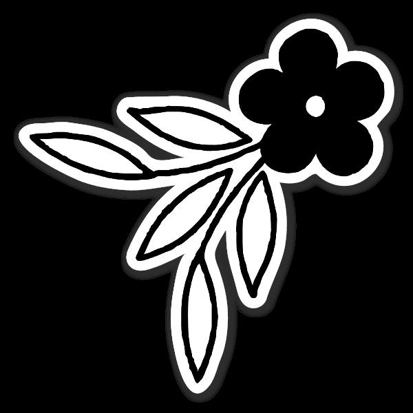 Cute Black And White Flower Sticker