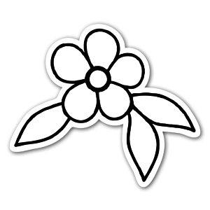 Simple flower ornament  sticker
