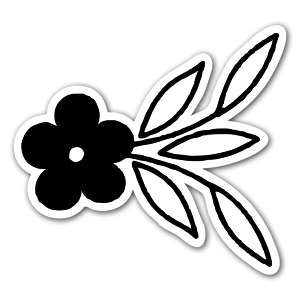 Black flower ornament  sticker
