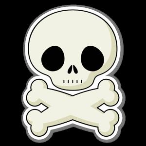 Söt dödskalle sticker