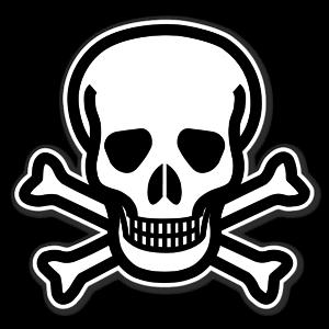 Dödskalle från varningsklistermärken sticker