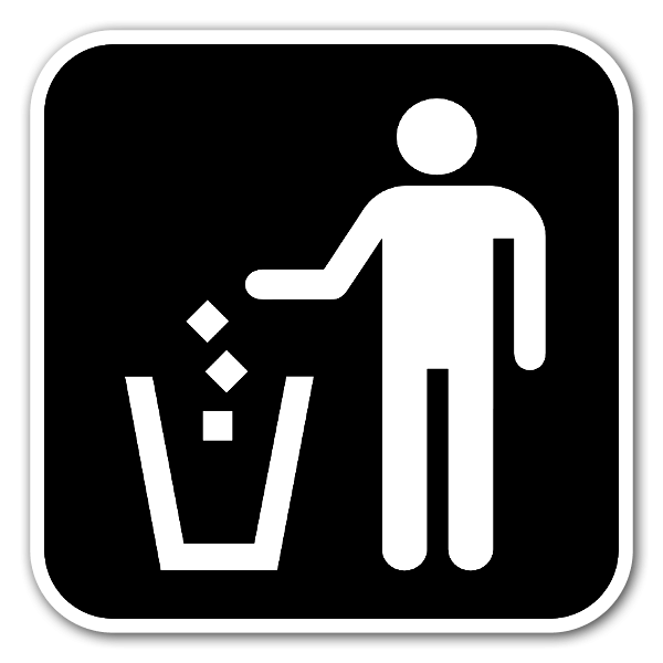 Throw your rubbish in the bin sticker