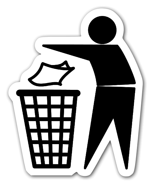 International symbol for throwing rubbish sticker