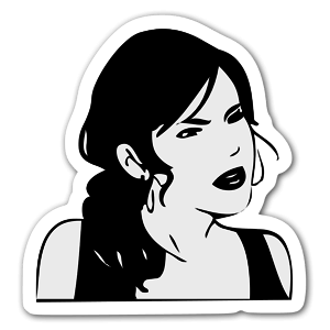 Girl in black  sticker