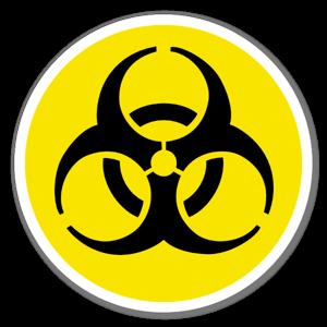 Varning biologiskt avfall sticker