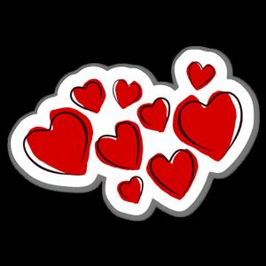 Ritade hjärtan sticker