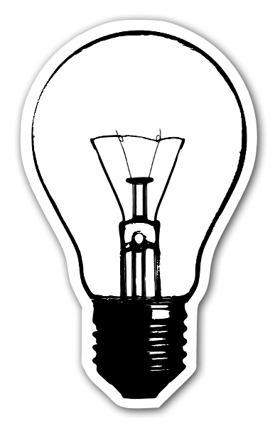 Light bulb with details sticker
