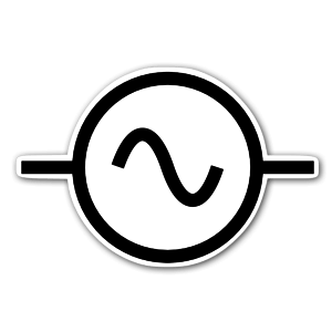 AC alternating current symbol sticker