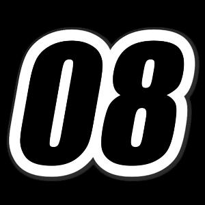 08 Racing Nummer sticker
