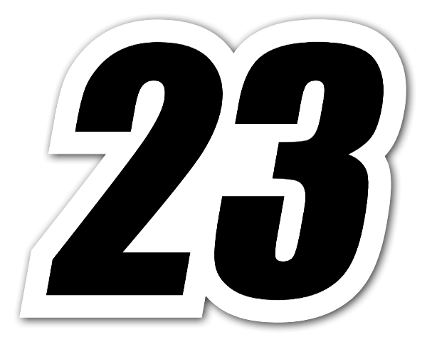 23 racing number sticker