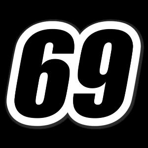 69 Racing Nummer sticker