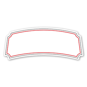 A curved black and red label  sticker