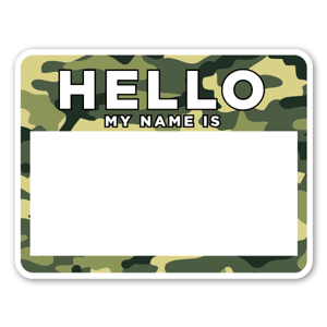 Camouflage name label  sticker