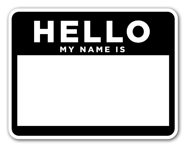 Black and white name label  sticker