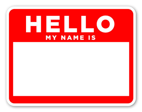 Namnetiketter hello my name is röd sticker