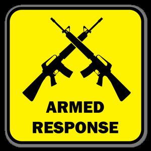 Bildekal med Armed Respons sticker