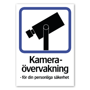 Dekal med kameraävervakning, köp styckvis upp till 60cm breda