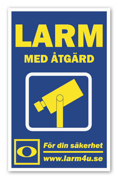 LARM med åtgärd dekal kameraövervakning sticker