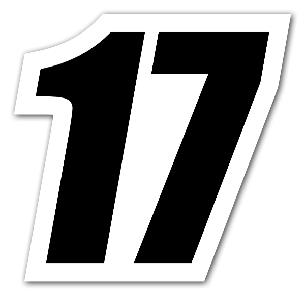 Black racing number 17 sticker