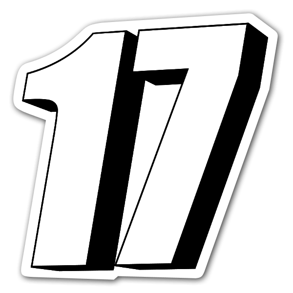 3d 17 racing number sticker