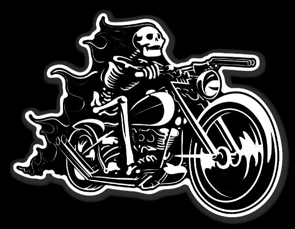 Dödskalle klistermärke med motorcykel sticker