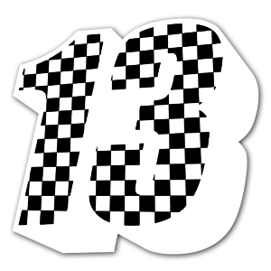 Black and white 13 sticker