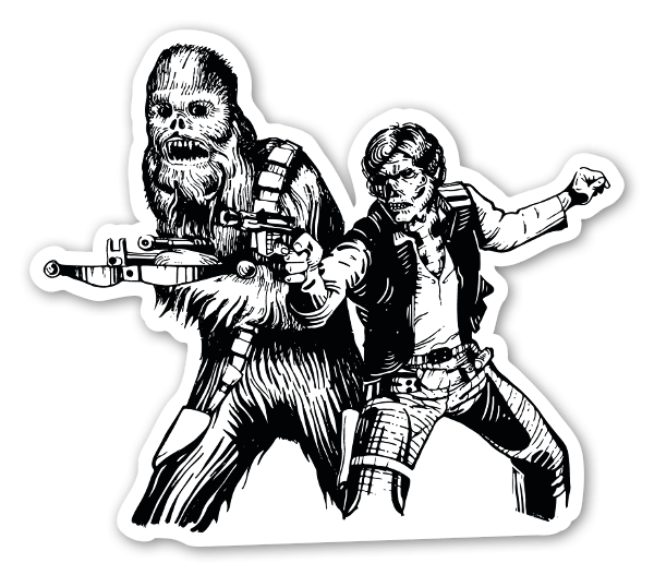 Chewbacca Solo döskalle dekaler sticker