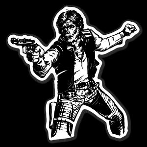Han Solo skull dekal sticker