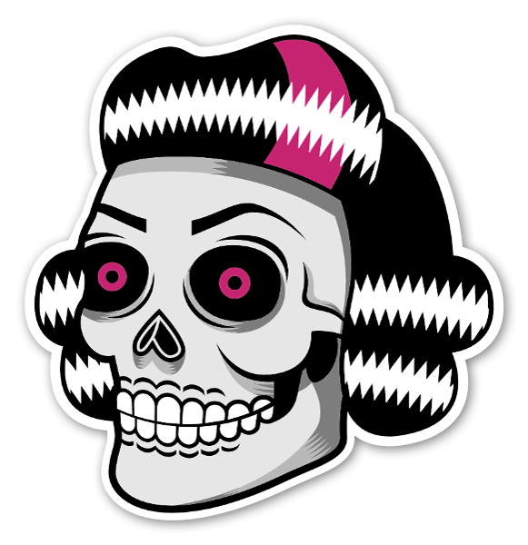 The girl skull sticker